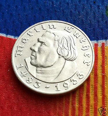 1933 A WWII 2 Mark SILVER German Martin Luther 3rd Reich Coin 5 Star