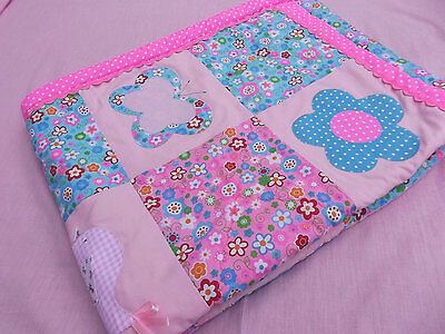 Quality Pink applique baby girl quilt soft polar fleece backing Personalized