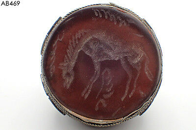 Huge Antique Islamic Afghan Old Horse Intaglio Carnelian Silver mix Ring #469