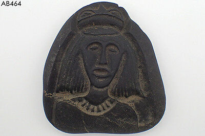 Rare Ancient Huge Bactrian Face Lady Intaglio Black Stone Bead #464