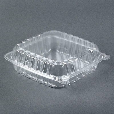 """8""""x8""""x3"""" Clear Plastic Containers, Hinged Lid , Food, Salad, Take Out (10 Boxes)"""