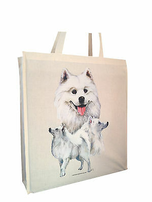 Samoyed (b) Cotton Bag Tote with Gusset and Long Handles Perfect Gift