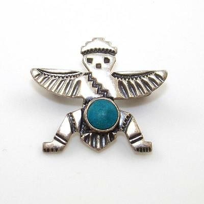Vintage Native American Sterling Silver Blue Turquoise Knifewing Pin Brooch