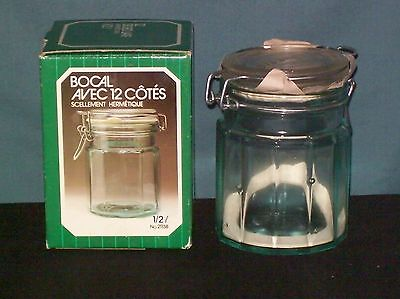 Vintage New in Original Box Hermetic 12 Sided Clear Glass Seal Jar Made Italy