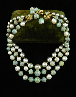 Vtg MIRIAM HASKELL Baroque PEARL Robins Egg Faux TURQUOISE Beaded NECKLACE