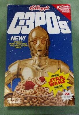 Vintage Kellogg's C-3PO's CEREAL BOX /w Stormtrooper Mask Star Wars