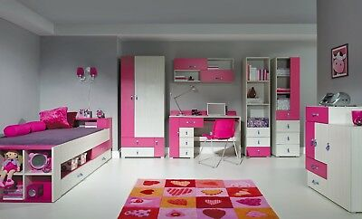 Modern Blue Pink Kids Children Bunk Bed Midsleeper Wardrobe Sideboard Drawers