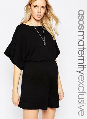 Asos Maternity Kimono Sleeve Black Playsuit 12 Immaculate Christmas Party Rrp£35
