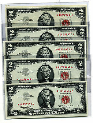 Lot Of 5 1963 $2.00 United States Red Seal Legal Tender Notes Ch Cu