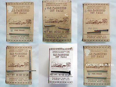 Old Fashion Steel Cut Nails 5 Box Lot  Tremont Nail Co.