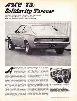 1973 Amc Hornet  ~  Great 3-Page Article / Ad