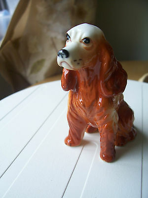 """Liver And White Spaniel Dog Figurine 3.25"""" High Exc Condition No Makers Mark"""