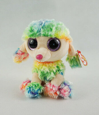 "6"" TY Beanie Boos With Tag Rainbow Poodle Dog Glitter Eyes Plush Stuffed Toys"