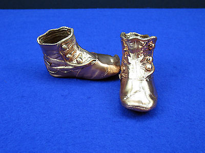 Antique? Side Button High Top Baby Shoes Copper/Bronze Dipped