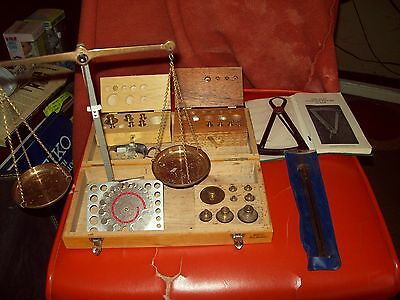Vtg Brass Apothecary  Gold Scale & Wieght Set West Germany With Extras