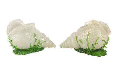 Pair Loetz Applied Threaded Green Iridescent Conch Shells Seaweed, 20th Century