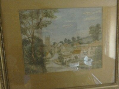 Watercolour of village in South West 19th C