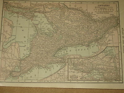 1909 Antique Hammond  MAP ONTARIO / QUEBEC Montreal
