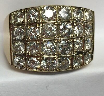 3 CT Mens Natural (real) Diamond CLUSTER Ring Solid 14k yellow gold Retail $5000