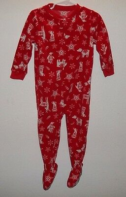 Unisex Baby Pajamas Size 24 Months Carter's Footed Long Sleeve Red Christmas