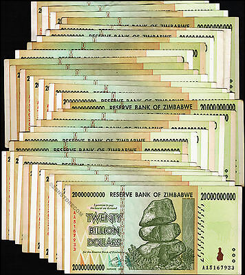 20 Billion Zimbabwe Dollars x 30 Banknotes Currency Paper Money Lot ~ AA/AB 2008