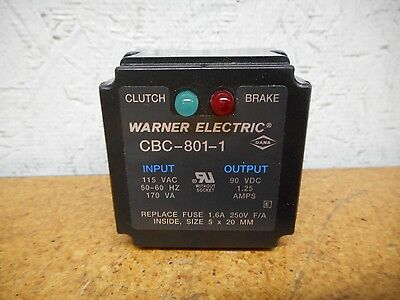 Warner Electric CBC-801-1 Clutch/Brake Relay 115VAC 50/60Hz 90VDC Gently Used