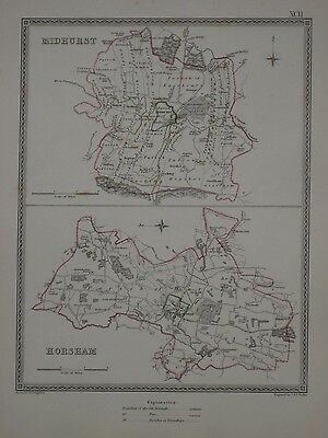 Original 1835 Borough Parish Road Map MIDHURST HORSHAM West Sussex England Farms