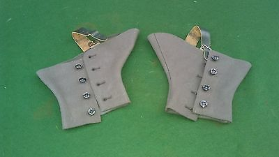 Vintage 1920's spats, size 6 with leather straps