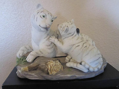 "2 White Tigers Mom And Cub Figurine 6-1/2"" by 4-1/2"""