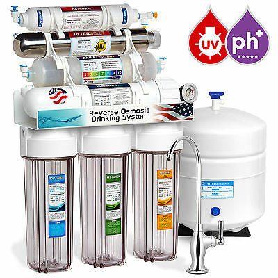 11-Stage Reverse Osmosis Water Filter System Ultraviolet Alkaline Clear + Gauge