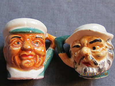 Hand Paint Ceramic Pirate Head Salt and Pepper Shakers