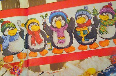 Cross Stitch Chart - MERRY  PARTY OF CHRISTMAS PENGUINS - Chart only (j)