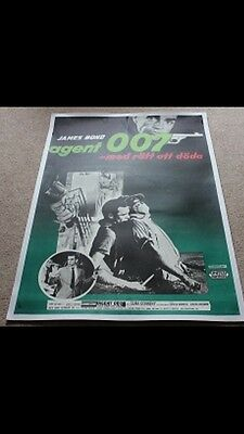 Very Rare Original James Bond 007 Dr No Swedish 1962 Poster Near Mint Condition