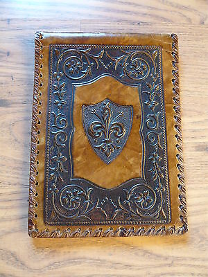 Antique Vintage Leather Bound writing wallet letter writing case