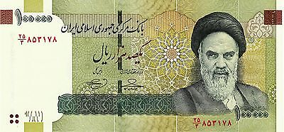 Lot, 10 x Iran 100000 (100,000) Rials Banknote Paper Currency, UNC, Khomeini