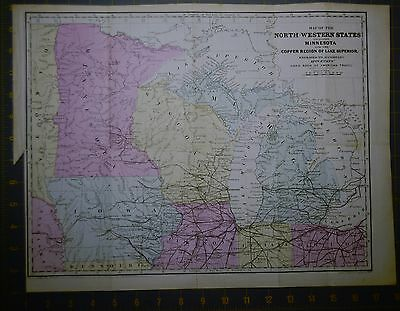 Antique Map of the North Western States Printed 1867 14x18