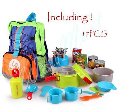 New Kid Pretend Toy Delux Outdoor Utensil Backpacker Camping Set (008-80B)