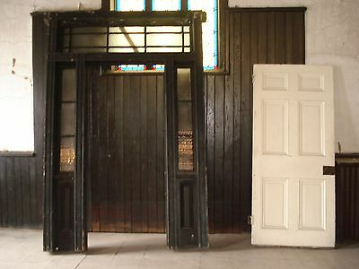 Antique Salvage 1874 Exterior Door with jamb/ sidelights and transom -must go