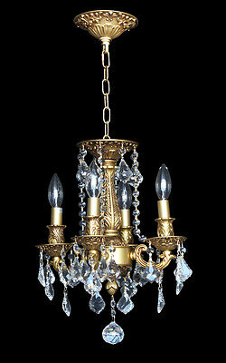 "4-light Clear Crystal Metal Chandelier Pendant French Gold D:12""xH:17"""