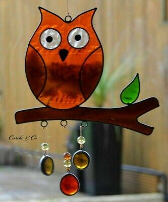 Stained Glass Colourful Wise Owl Hanging Sun Catcher Home - Window Decoration