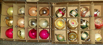 24 Shabby Chic Vintage Christmas Balls, 12 Indents, Shiny Brite boxes