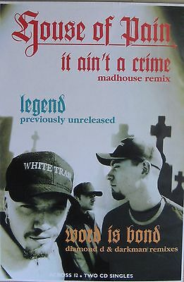 """40x60"""" HUGE SUBWAY POSTER~House of Pain 1994 It Ain't a Crime Same as Ever Was~"""