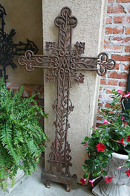 Antique French Cast Iron Cross Crucifix Chapel Garden Architectural Ornate Ivy