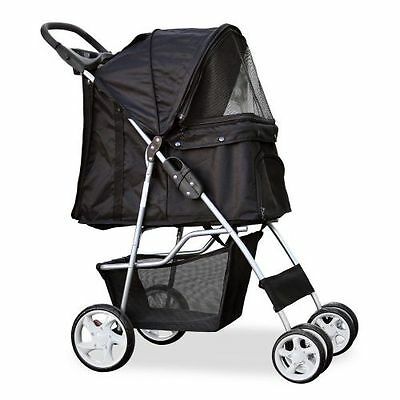 PetsN'all ✪ 4-Wheel Foldable Pet Stroller ☆ Black