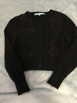 Cashmere Little Girls Black Cardigan Sweater Sz Xs With Lace
