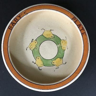 Roseville Pottery Rolled Edge Baby's Plate Juvenile Creamware Yellow Chicks