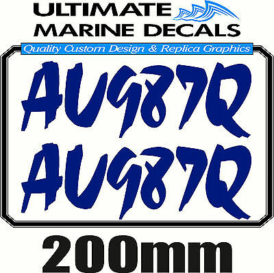 Boat Rego 200mm Modern Registration Sticker Decal Set of 2