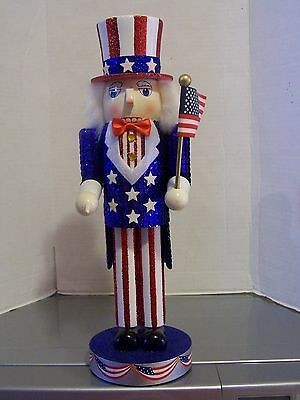 Nutcracker Village Uncle Sam Patriotic America Flag Christmas Toy Soldier New 2!