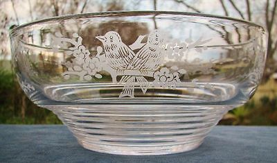 Beautiful Vintage Stuart England Lead Crystal Bowl ~ Etched Birds Pattern