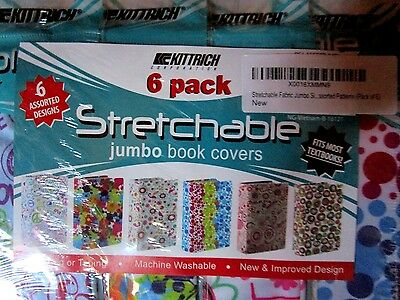 Stretchable Fabric Jumbo Size Book Cover, Assorted Patterns Pack of 6 - New!